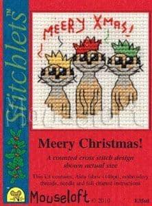 Mouseloft Meery Christmas! Card Christmas Stitchlets cross stitch kit